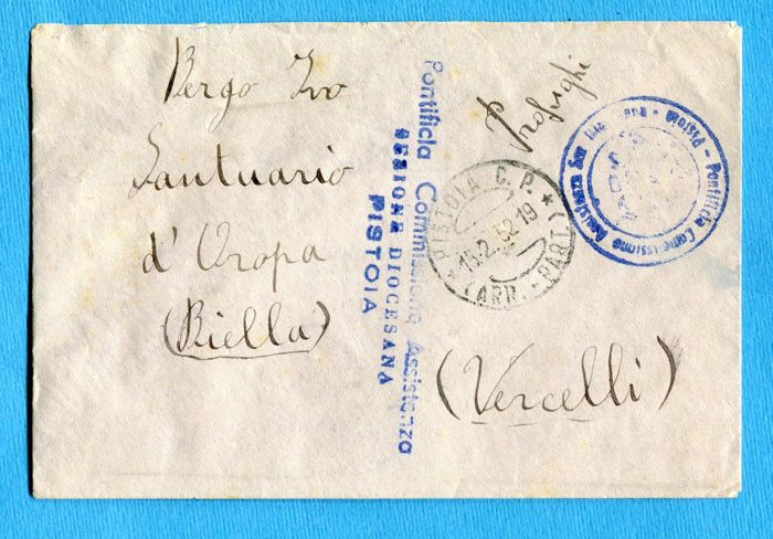 italy, 1952 – polesine floods – letter exempt from postage from