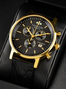 "Calvaneo 1583 Centron II ""Gold Black"" Slim Chronograph Men's watch – NEW"