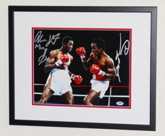 Sugar Ray Leonard AND Thomas 'Hitman' Hearns original DOUBLE signed photo - Deluxe Framed + Certificate of Authenticity from PSA