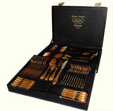 Olympia Solingen - Cutlery set for 12 people gold plated 23/24 carats stainless steel - 18/10, 70 pieces