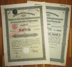 Germany - 2x Westphalian Mining, Lead and Zinc Production Company - Aktie Share 300/1200 Marks Aachen 1901/21 - Lot of 2 different