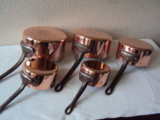 Set of five tinned copper pans FRENCH MANUFACTURE 1970/1980