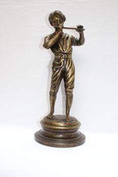 Bronze sculpture '' boy playing flute'', 2nd half 20th century, signed