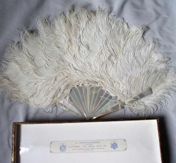 Antique Duvelleroy fan and box