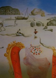 Salvador Dalí (after) - Lady at seabeach