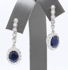 5.38 ct gold earrings with diamonds and sapphires