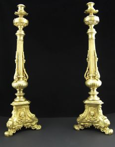 A pair of French ormolu candlesticks - France - 19th century