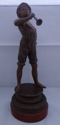 "Boy with ""shepherd's flute"" - statue made of zamac - 20th century"