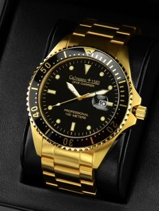 "Calvaneo 1583 Dive Carrier ""Gold Edition"" 46mm Diver Watch – 10 ATM Men's Watch NEW"
