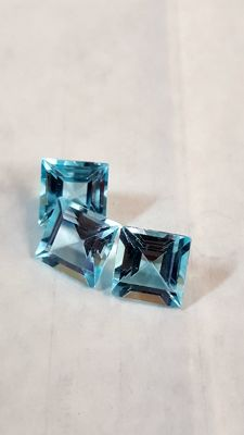 Lot of 3 light blue topaz stones, totalling 9.31 ct