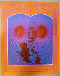 Original promotional poster Radio Station KMPX in San Francisco Victor Moscoso Neon Rose 1967