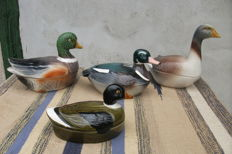 Four terrines in faience of Michel Caugant - A goose and three ducks