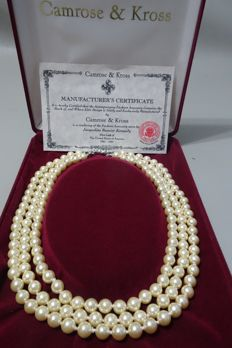 CAMROSE & KROSS - JACKIE KENNEDY - Triple Strand Ivory Faux Pearl Necklace with Box & Certificate of Authenticity