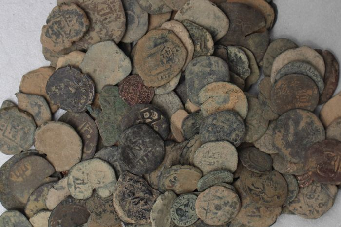 Spanish middle age collection – 147 bronze coins – 601 g