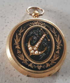 2. Vacheron Geneve - enamel - gold open face pocket watch around 1860