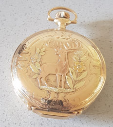 1. Waltham multicoloured - splendid hunter case pocket watch - around 1883