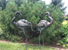 Two metal sculptures. Cranes, 80 cm high