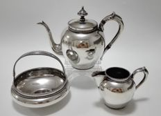 Three piece silver tea set, The Netherlands, Voorschoten, Fa N.M. van Kempen and sons, around 1910