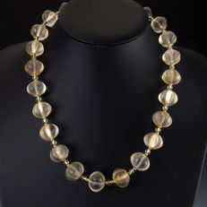 Ancient crystal melon beads necklace - 51 cm