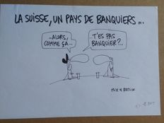 Mix & Remix - Original drawing - Infrarouge les banquiers suisses - (2005)