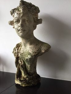 Beautiful French garden statue, bust of young woman, mid 20th century