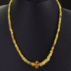 Necklace with yellow Roman glass beads - jewellery box included