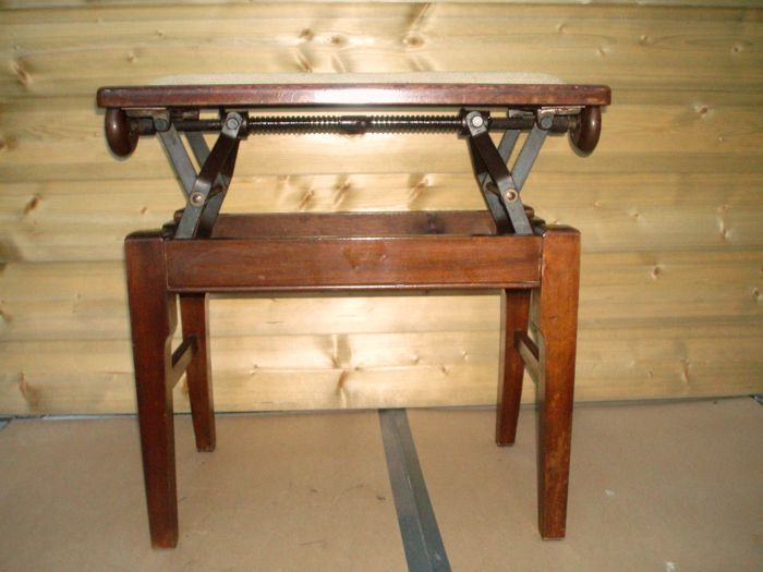 Antique adjustable wooden piano stool english around