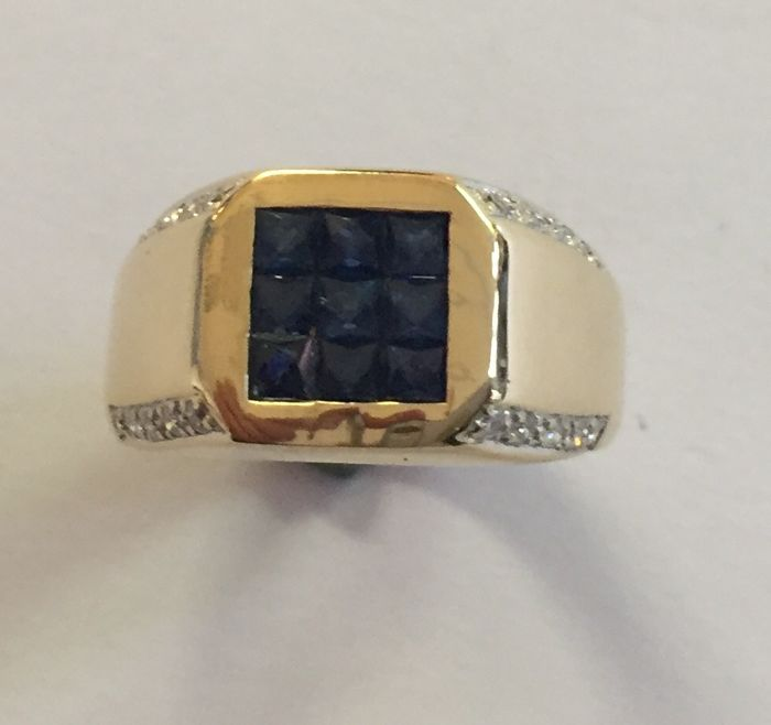 18 kt gold ring with sapphire and brilliant cut diamonds little