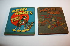 Disney, Walt - 2x Wee Big Little Book - Mickey Mouse Uphill Fight & Mickey Mouse Wins the Race - sc - 1e druk (1934)