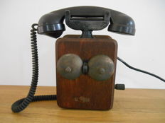 Antique wooden ATEA wall telephone with Bakelite receiver from 1910