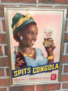 "Spits Congola, brewery 'T 'HAMERKEN BRUGGE"" appraised 1959, pin-up girl"