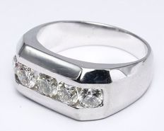 14kt White gold Men's ring with 5 Diamond 1,85ct - size 58