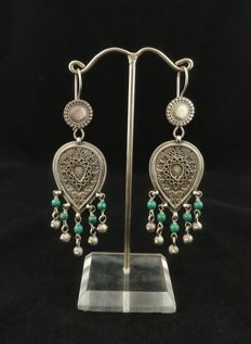 Vintage silver earrings with turquoise — Afghanistan, second half of 20th century