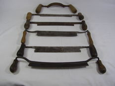 Lot of 6 old  barking irons / paring chisels - partially marked - to remove tree bark