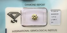 1.07 ct brilliant cut diamond Light Brownish Yellow SI1