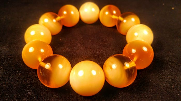 Round beads modified Landscape colour Baltic Amber Bracelet, Bracelet diameter ca. 56 mm