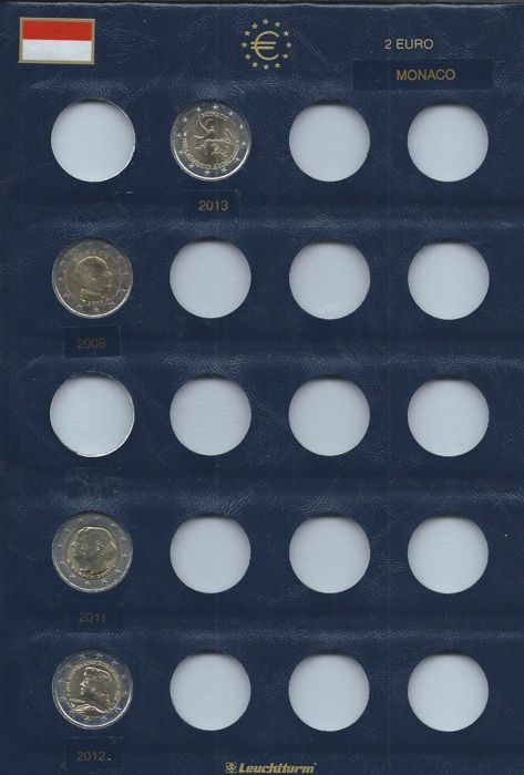 Monaco - Lot of 4 x 2 Euros coins 2009/2013