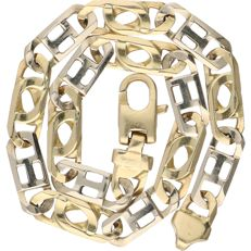 14 kt - Bi-colour yellow/white gold link bracelet - Length: 21.5 cm