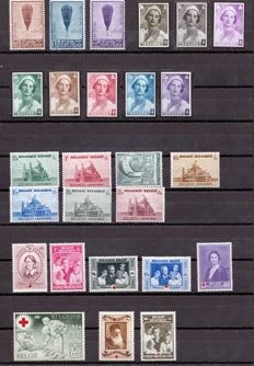 Belgium – 1932–1961 – Lot of series – Yvert no. 353/5,411/8, 471/7, 496/03, 513/8, 661/9 ,701/9, 737/42, 751/5, 818/22,823/5, 860/2,  876/8, 927/9, 1005/7,1182/7