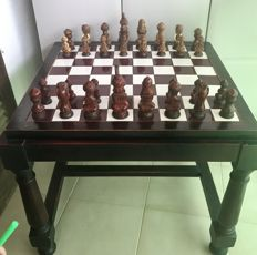 Large table with chess made of old olive wood and bone