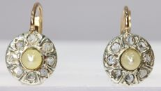 Belle Epoque short hanging earrings with diamonds and seed pearls - anno 1900