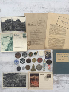 German civil lot with tins, postcards and documents