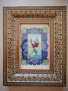 Persian miniature in a mosaic embedded frame - Half of the 20th century.
