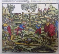 Illustrated post-incunabula leaf - The Duel, Virgil's Aeneud, hand colored - 1529