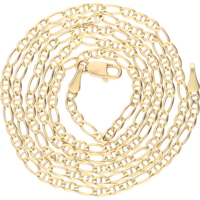 18 kt yellow gold Figaro link necklace – Length: