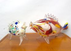 Murano - 2 Vintage Fishes (59 and 23 cm).