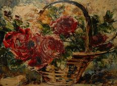 Theo Goedvriend  (1879-1969) - Roses in a flower basket
