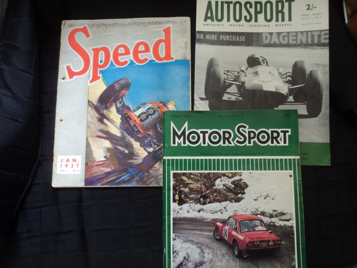 1 Speed Magazine - January 1937 (English) and 1 Autosport, British Grand Prix - July 26, 1963 and Motor Sport - March 1972