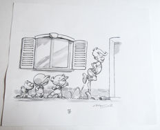 Munuera, José-Luis - Original published wash drawing - P'tit Boule et Bill - (2013)