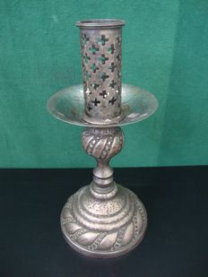 Antique Silver Brass Candleholder